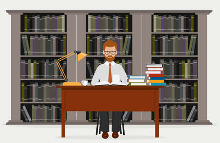 librarian: Man in library. Concept of education. Reading in library a vector illustration.