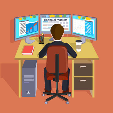 accomplish: Person working in the computer. Concept trade Internet. Flat vector illustration of style. Illustration