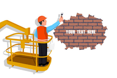 Worker standing in an assembly cradle paints a wall representing the place for your text. vector illustration.