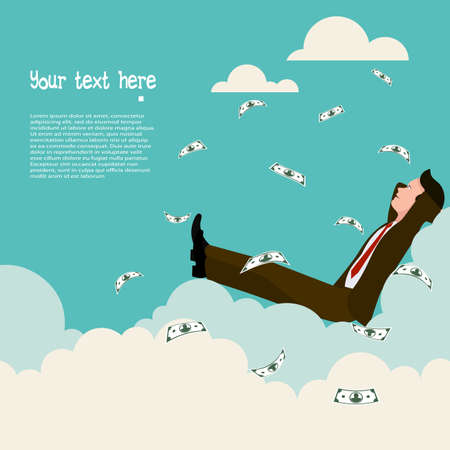Manager sitting on a cloud. a rain from dollar banknotes. flat style vector illustration.