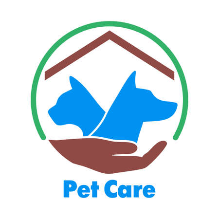 Logo care of animals, symbol of protection of vagrant animals.