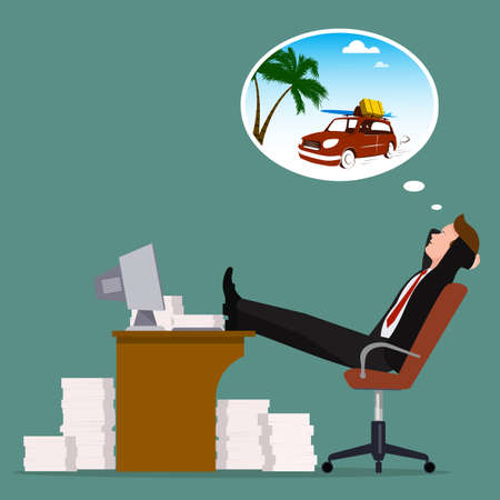 Office worker of a dream of a summer vacation, vector illustration.