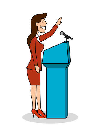 Ridiculous caricature the woman the politician at the microphone a vector illustration.