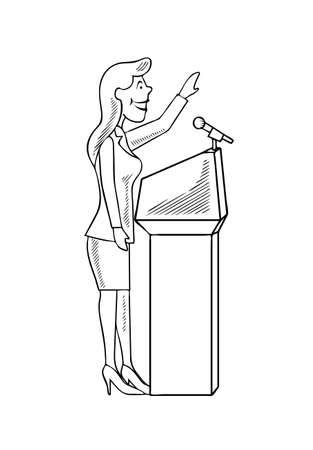 convention: Ridiculous caricature the woman the politician at the microphone a vector illustration.