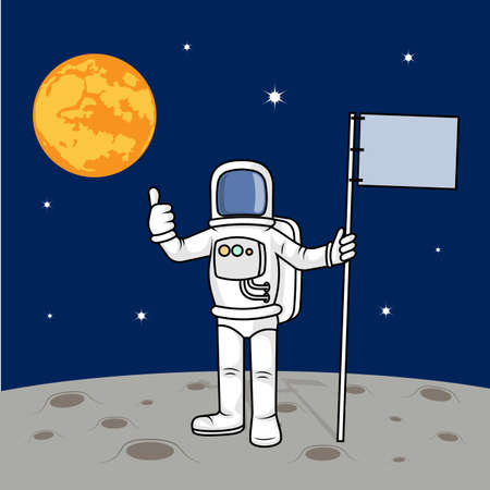 Drawing the astronaut has landed on the planet a vector illustration.