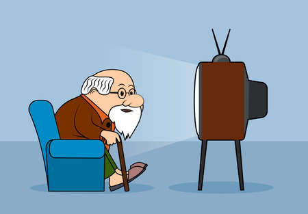 Drawing the elderly person watches television a vector illustration.