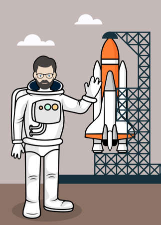 made to order: Drawing the astronaut on the launch pad a vector illustration.