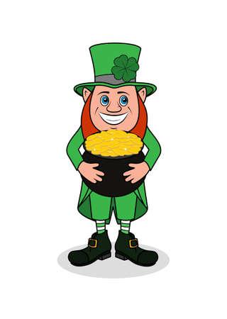 irish ethnicity: Cheerful leprechaun with clover vector illustration