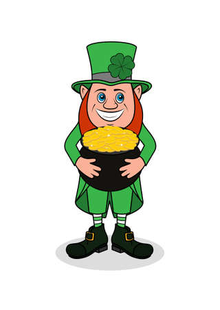 Cheerful leprechaun with clover vector illustration