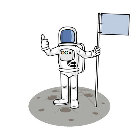 made to order: Drawing the astronaut has landed on the planet a vector illustration.