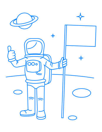 and has: Drawing the astronaut has landed on the planet a vector illustration.