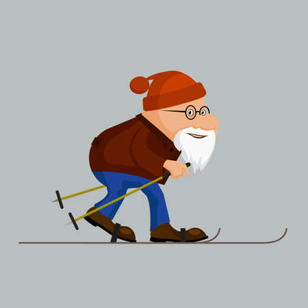 Ridiculous caricature, the elderly man on skis, a vector illustration.