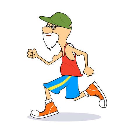 ridiculous: Ridiculous caricature the elderly man the running marathon a vector illustration.