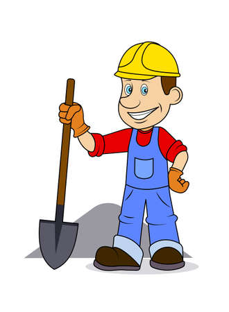 business tool: Ridiculous caricature the cheerful worker with the tool in hands a vector illustration. Illustration