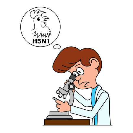 manual test equipment: Ridiculous caricature the biologist looks in a microscope a vector illustration. Illustration