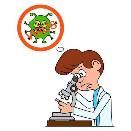 Caricatura ridicola il biologo guarda in un microscopio un'illustrazione vettoriale.