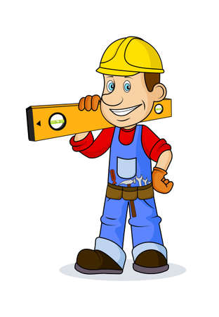 ridiculous: Ridiculous caricature the cheerful worker with the tool in hands a vector illustration. Illustration