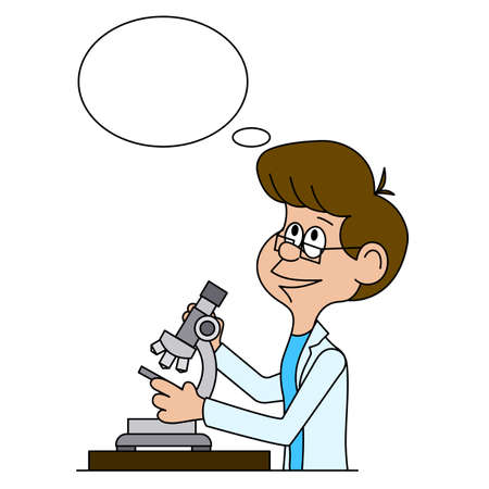 Ridiculous caricature the biologist looks in a microscope a vector illustration. Illustration
