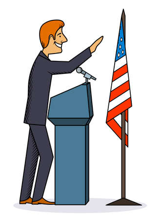 convention: The politician a performance at the microphone a monochrome caricature a vector illustration.