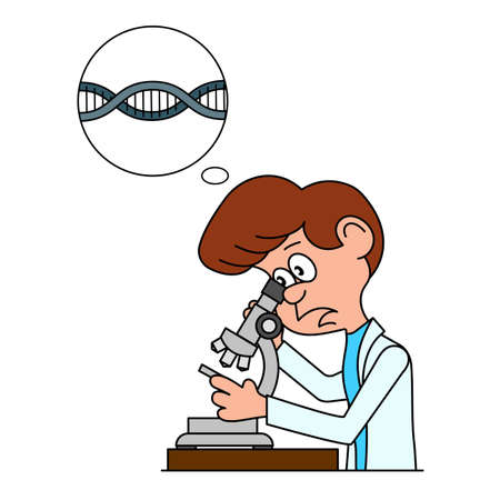 biology lab: Ridiculous caricature the biologist looks in a microscope a vector illustration. Illustration