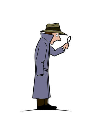 Comical figure of the detective vector illustration.