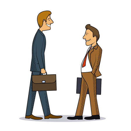 associate: Meeting of two businessmen colourful caricature vector illustration Illustration