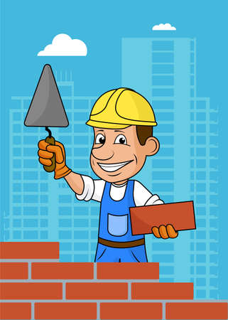 working people: Cheerful builder .Vector illustration.