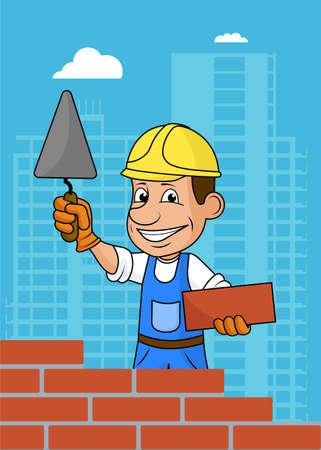 Constructor alegre ilustración .Vector. Foto de archivo - 72713357