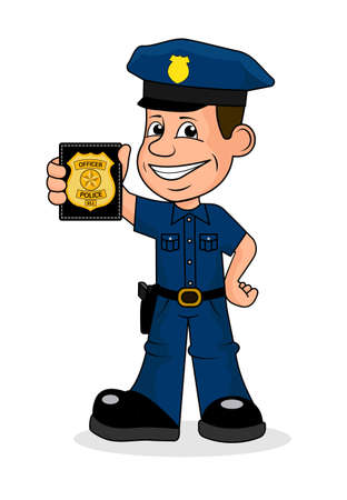 Illustrazione vettoriale allegra di polizia.
