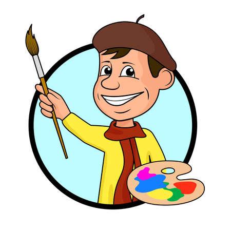 Artiste à la brosse et peint une illustration vectorielle.