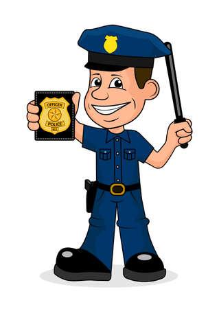 Fröhlich Polizist Vektor-Illustration. Vektorgrafik
