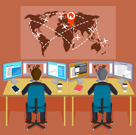 indexes: People on a workplace before the world map with indexes of the transport directions flat style a vector illustration.