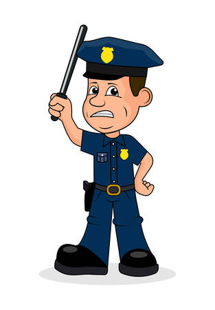Angry police officer vector illustration. Illustration