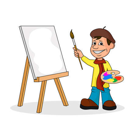 Sheerful artist with a brush and paints a vector illustration.