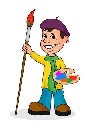 L'artista sheerful con una spazzola e dipinge un'illustrazione di vettore.