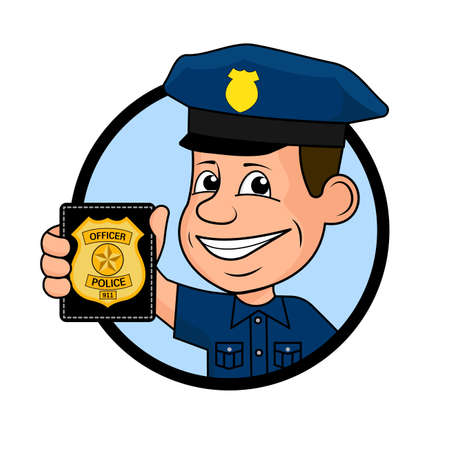 handcuffs: Cheerful police officer vector illustration.