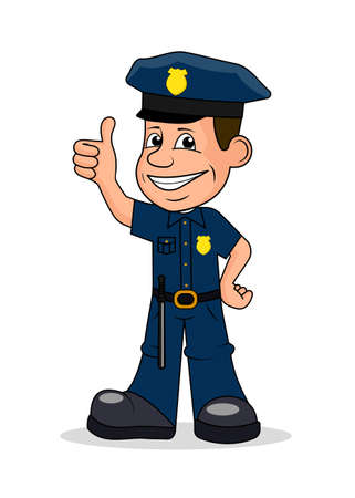Cheerful police officer vector illustration.
