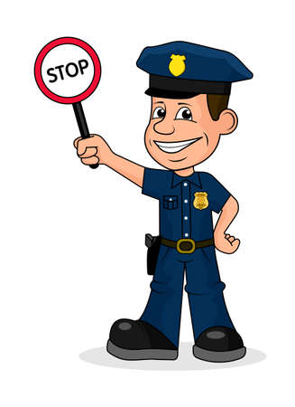Cheerful policeman holding a sign stop, vector illustration.