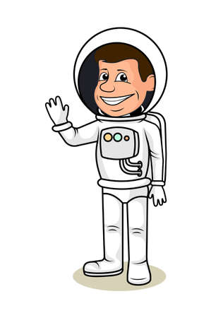 man made: Sheerful astronaut in a space suit a vector illustration. Illustration