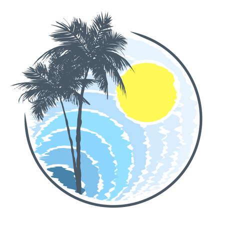 turismo: Icono de la playa tropical en estilo grunge.