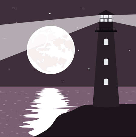 coastlines: Night landscape a beacon on the sea coast.