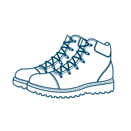 Mountain boots on a white background.