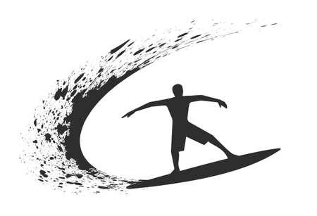 スタイル グランジの波でサーファー。 写真素材 - 74554108