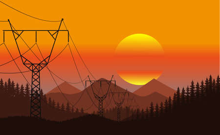 Evening landscape of the line of electro transfers among the wild nature a vector illustration.