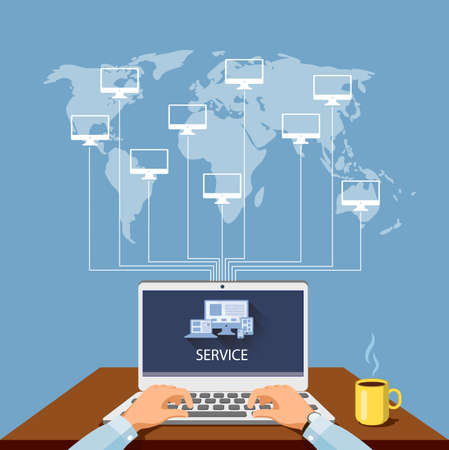 Person at the computer, service of the computer equipment of program support, vectorial illustration. Stock Vector - 74640250