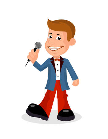soloist: Cheerful soloist with the microphone a vectorial illustration.