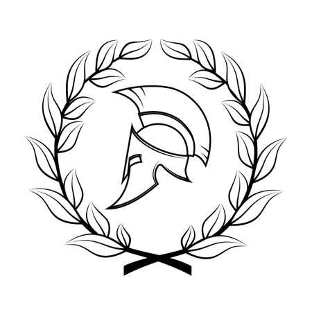 Symbol a Spartan helmet in a laurel wreath. Illustration