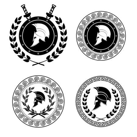 roman soldier: Symbol a Spartan helmet is issued by an ornament in the Greek style.