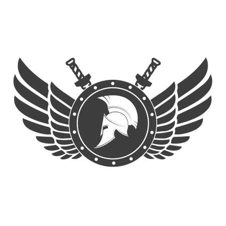 Militair symbool een Spartaanse helm op een bord met ondervleugels. Stock Illustratie
