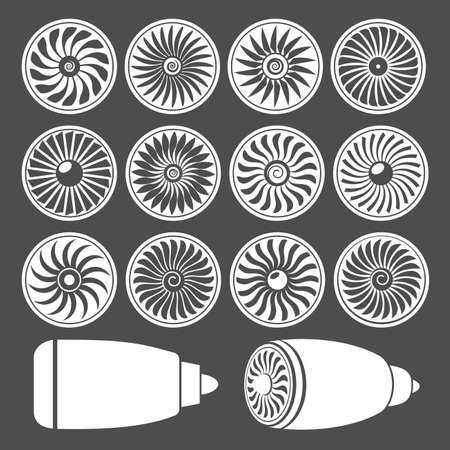 Blades of turbines of the engine of the plane, monochrome icons. Illustration